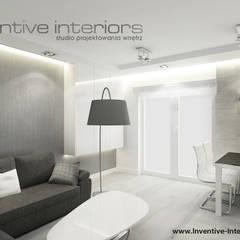 Biało szary salon: styl , w kategorii Salon zaprojektowany przez Inventive Interiors