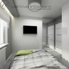 Biało szara sypialnia: styl , w kategorii Sypialnia zaprojektowany przez Inventive Interiors