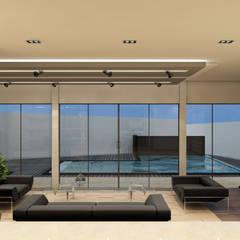 Villa Penélope: Salas / recibidores de estilo moderno por NOGARQ C.A.