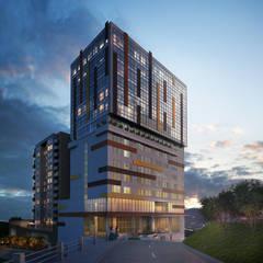 Fachada Torre empresarial y Hotel: Hoteles de estilo  por MIES GROUP