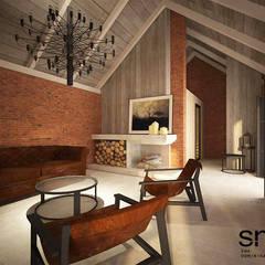 SPA w pawilonie ogrodowym: styl rustykalne, w kategorii Spa zaprojektowany przez SMUK