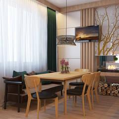 современное шале в однокомнатной квартире: Столовые комнаты в . Автор – Частный дизайнер и декоратор Девятайкина Софья