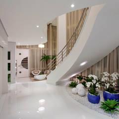 Casa Orquídea: Corredores e halls de entrada  por Arquiteto Aquiles Nícolas Kílaris