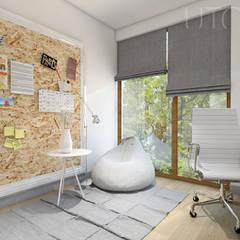 Pokój do nauki: styl , w kategorii Domowe biuro i gabinet zaprojektowany przez UTOO-Pracownia Architektury Wnętrz i Krajobrazu
