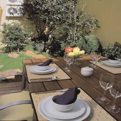 Comedor exterior y jardín creado en un patio. : Terrazas de estilo  de Daifuku Designs
