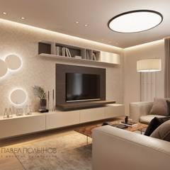 Квартира в современном стиле, 153 кв.м.: Гостиная в . Автор – Студия Павла Полынова