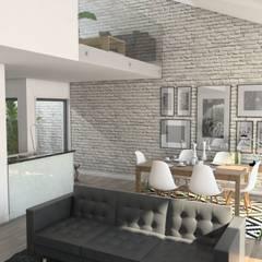 Remodelação Calçada do Combro: Salas de estar  por Arqui3 Arquitectos Associados