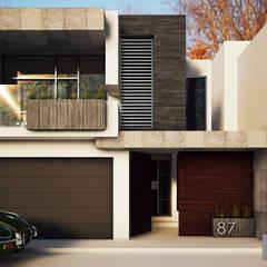 Fachada MG-Ceibas-87: Casas de estilo  por Modulor Arquitectura
