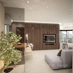 Illumination Terrace | Tai Hang | Hong Kong:  Living room by Nelson W Design, Modern Wood Wood effect