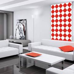 Tapeta w romby biało-czerwona: styl , w kategorii Ściany zaprojektowany przez Dekoori