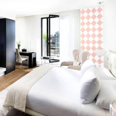 Tapeta w romby biało-różowa: styl , w kategorii Ściany zaprojektowany przez Dekoori