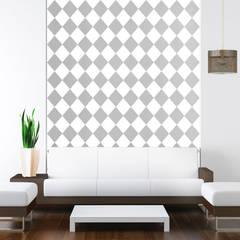 Tapeta w romby biało-szara: styl , w kategorii Ściany zaprojektowany przez Dekoori