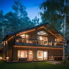 Modern Eco-house in Zhukovka.: Дома в . Автор – Design studio of Stanislav Orekhov. ARCHITECTURE / INTERIOR DESIGN / VISUALIZATION.