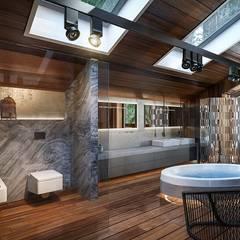 Modern Eco-house in Zhukovka.: Ванные комнаты в . Автор – Design studio of Stanislav Orekhov. ARCHITECTURE / INTERIOR DESIGN / VISUALIZATION.