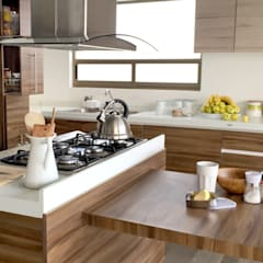 Cocina Nogal: Cocinas de estilo  por ESTUDIO FD, Moderno Madera Acabado en madera