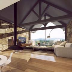imagem 3d - sala de estar: Salas de estar  por Davide Domingues Arquitecto