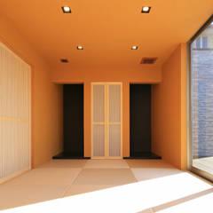 空に繋がる住宅: 猪股浩介建築設計 Kosuke InomataARHITECTUREが手掛けた壁です。,