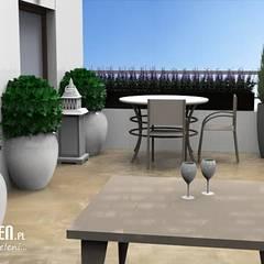 Projekt tarasu w Lublinie: styl , w kategorii Biurowce zaprojektowany przez Lunatic Garden
