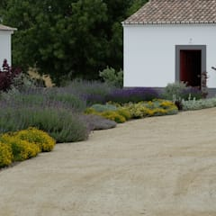 Vista sobre canteiro de aromáticas: Jardins ecléticos por Atelier Jardins do Sul