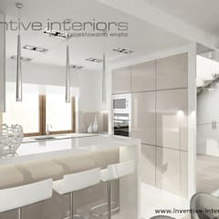 INVENTIVE INTERIORS – Dom w bieli i beżu - 150m2: styl , w kategorii Kuchnia zaprojektowany przez Inventive Interiors,