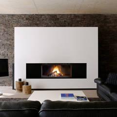 Lareiras Metalfire - Lenha : Salas de estar  por Biojaq - Comércio e Distribuição de Recuperadores de Calor Lda,Moderno