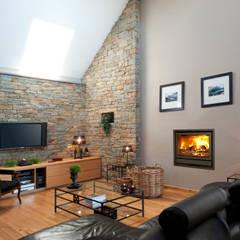 IN Fire 800 Green Metal: Salas de estar  por Biojaq - Comércio e Distribuição de Recuperadores de Calor Lda