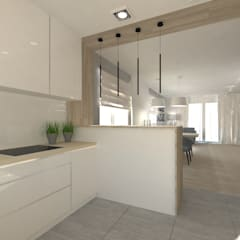 Wnętrze domu jednorodzinnego : styl , w kategorii Kuchnia zaprojektowany przez Gil Architekci,