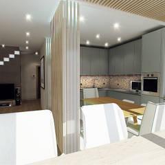 Двухуровневая квартира (вариант 2): Кухни в . Автор – Шамисова Анастасия