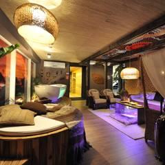 Lounge da Oceania Espaços comerciais asiáticos por Pinheiro Machado Arquitetura Asiático Madeira Efeito de madeira