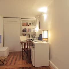 6M2 Cuarto de Huéspedes + Escritorio: Dormitorios de estilo  por MINBAI