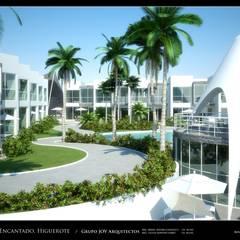 Imagenes 3D (Render) Vista  externa de las areas recreacionales y exteriores: Jardines de estilo  por Grupo JOV Arquitectos