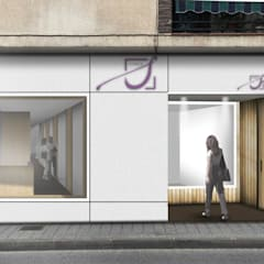 Infografía fachada: Clínicas de estilo  de Búhoblanco arquitectos