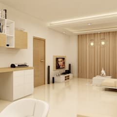 PRESTIGE GARDEN BAY, YELAHANKA, BANGALORE. (www.depanache.in):  Study/office by De Panache  - Interior Architects