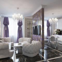 Квартира 90 кв.м. в ЖК «Ласточкино гнездо»: Гостиная в . Автор – Студия дизайна интерьера Маши Марченко