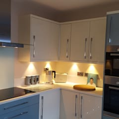 Blue & Cream Gloss Kitchen, Aberdare, South Wales: modern Kitchen by Hitchings & Thomas Ltd
