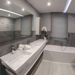 Nowoczesna łazienka w szarościach z produktami Luxum: styl , w kategorii Łazienka zaprojektowany przez Luxum