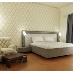 flat Interior Designs Modern style bedroom by 100Krafts Modern