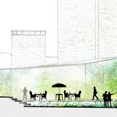 Terrasse et café dans la serre des hespérides: Musées de style  par Fertiles