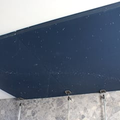 Spa ceiling construction before spray painting:  Spa door MyCosmos