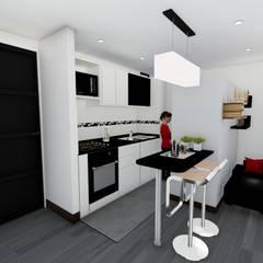 Aparta-estudios Cocinas de estilo moderno de OGGETTO ARQUITECTOS Moderno