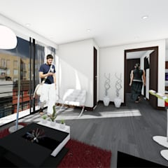 Aparta-estudios Salas de estilo moderno de OGGETTO ARQUITECTOS Moderno