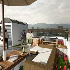 Aparta-estudios Balcones y terrazas de estilo moderno de OGGETTO ARQUITECTOS Moderno