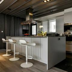[HOME] PJ Design: KD Panels의  주방,인더스트리얼 우드 우드 그레인