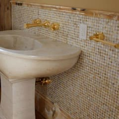 Golden Lip Mother of Pearl Bathroom: tropical Bathroom by ShellShock Designs
