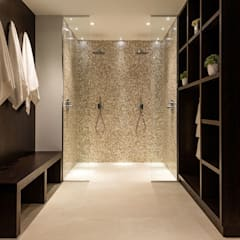 Mother of Pearl Mosaics at Laurel Grove: modern Bathroom by ShellShock Designs