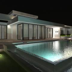 mediterraan Zwembad door Estudio de Arquitectura, Interiorismo y Urbanismo José Sánchez Vélez  653 77 38 06