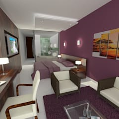 Mérit Hotel Iguazu: Dormitorios de estilo  por G+R Arquitectura