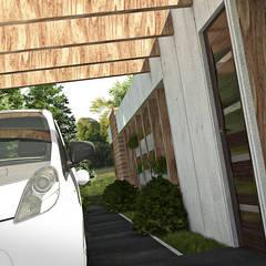 Concurso de diseño: Vivienda Unifamiliar de Bajo Costo (mencion honorifica): Garajes y galpones de estilo  por Arq.AngelMedina+,