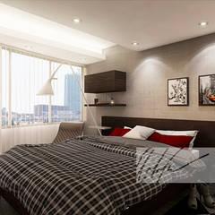 Apartamento Residencial: Cuartos de estilo  por Arq.AngelMedina+, Minimalista Concreto