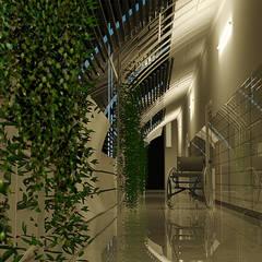HCG -SERVICE BRIDGE:  Corridor & hallway by TECHNO ARCHITECTURE .INC,Industrial Metal